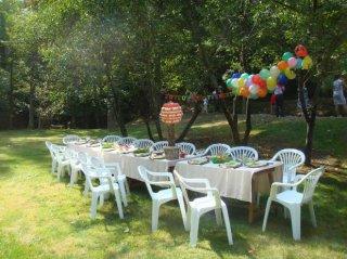 table d'anniversaire enfants extérieur