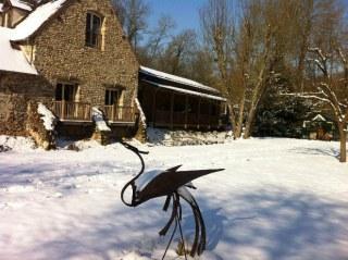 moulin de Lonceux sous la neige