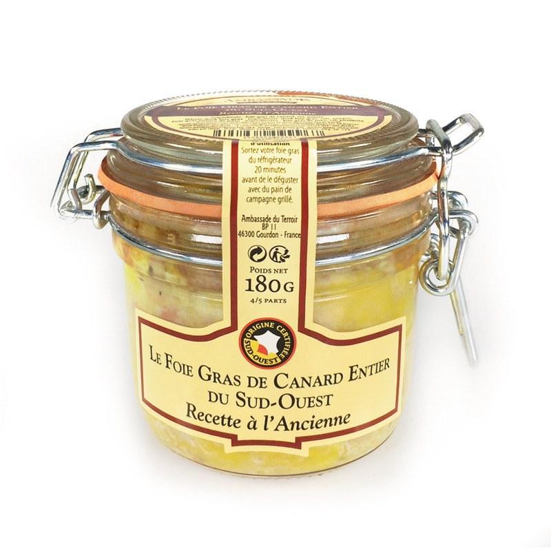 Foie gras de canard entier IGP Sud-Ouest bocal Entre-Mets traiteur