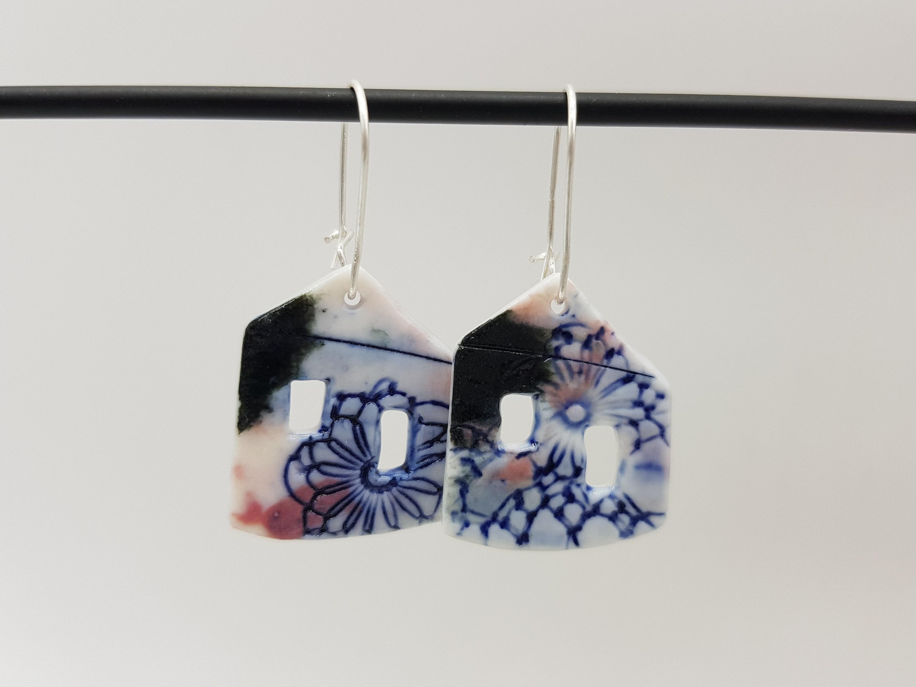 Boucles d'oreilles Maison - Collection Burano - Coloris Bleu foncé/Framboise