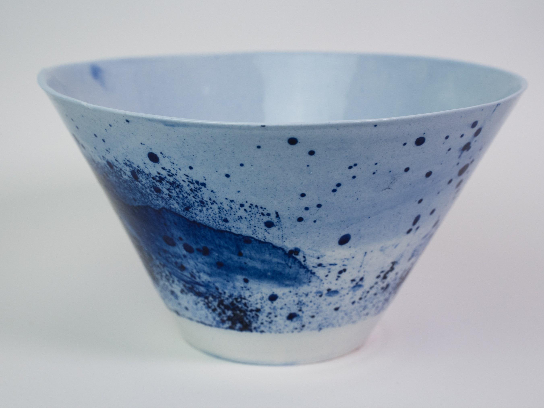 Collection Ligne Bleue -Grand saladier  porcelaine bleu brillant