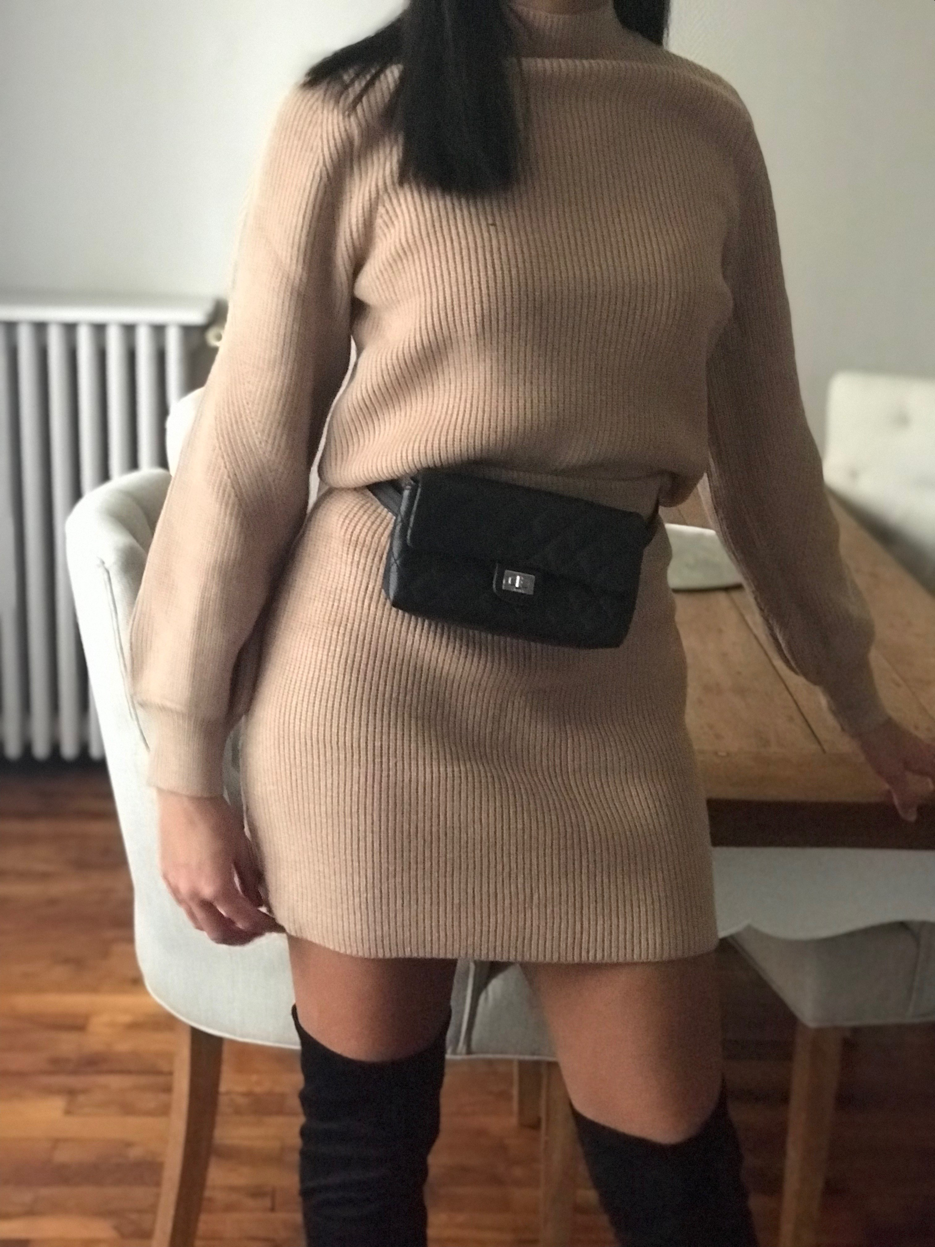 ensemble mini jupe beige