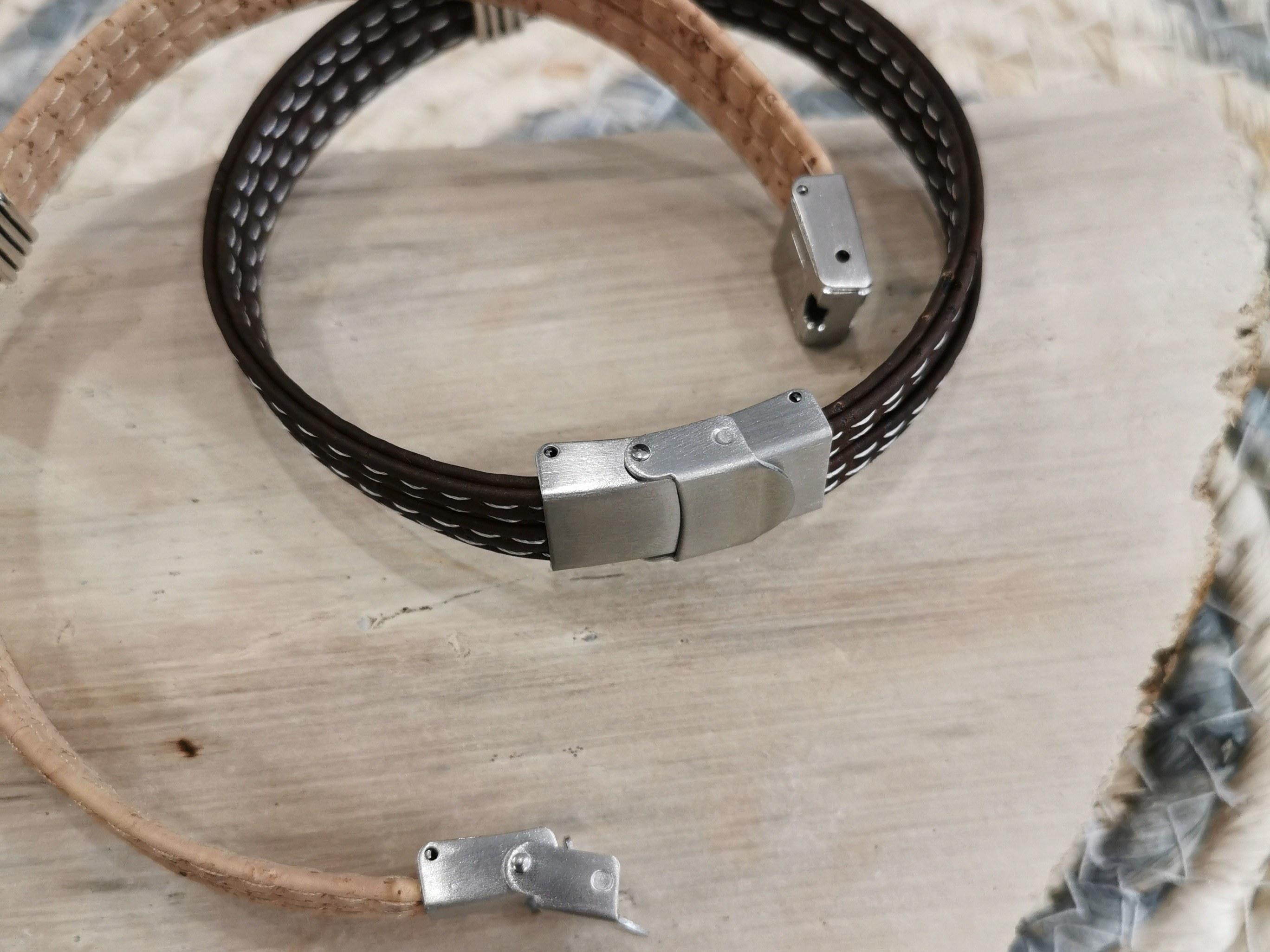 bracelet en liège fermoir ajustable couleurs d'hélène