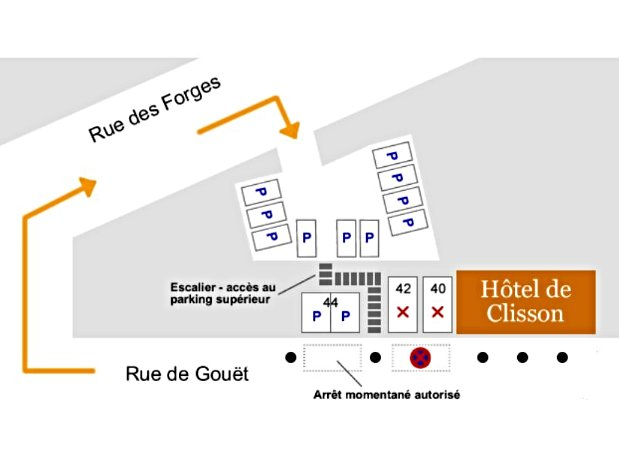 Plan parking gratuit hôtel de Clisson