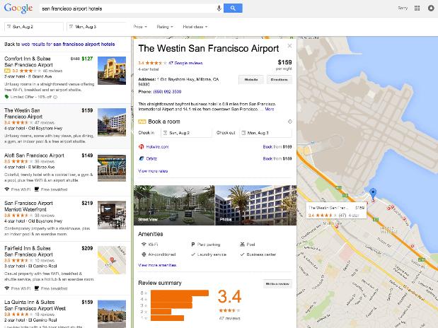Google hôtel commissions