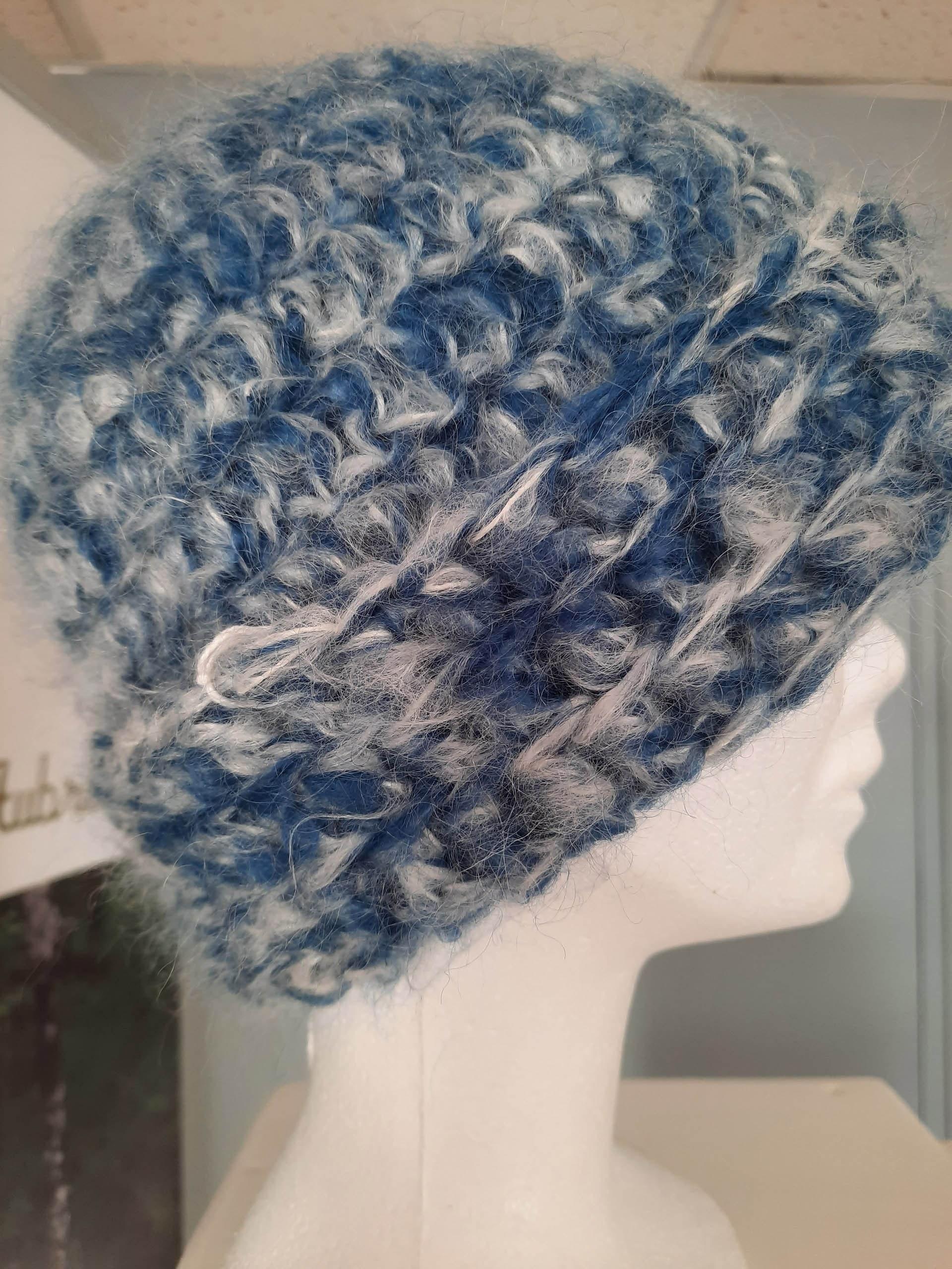 bonnet bleu blanc - 100mohair