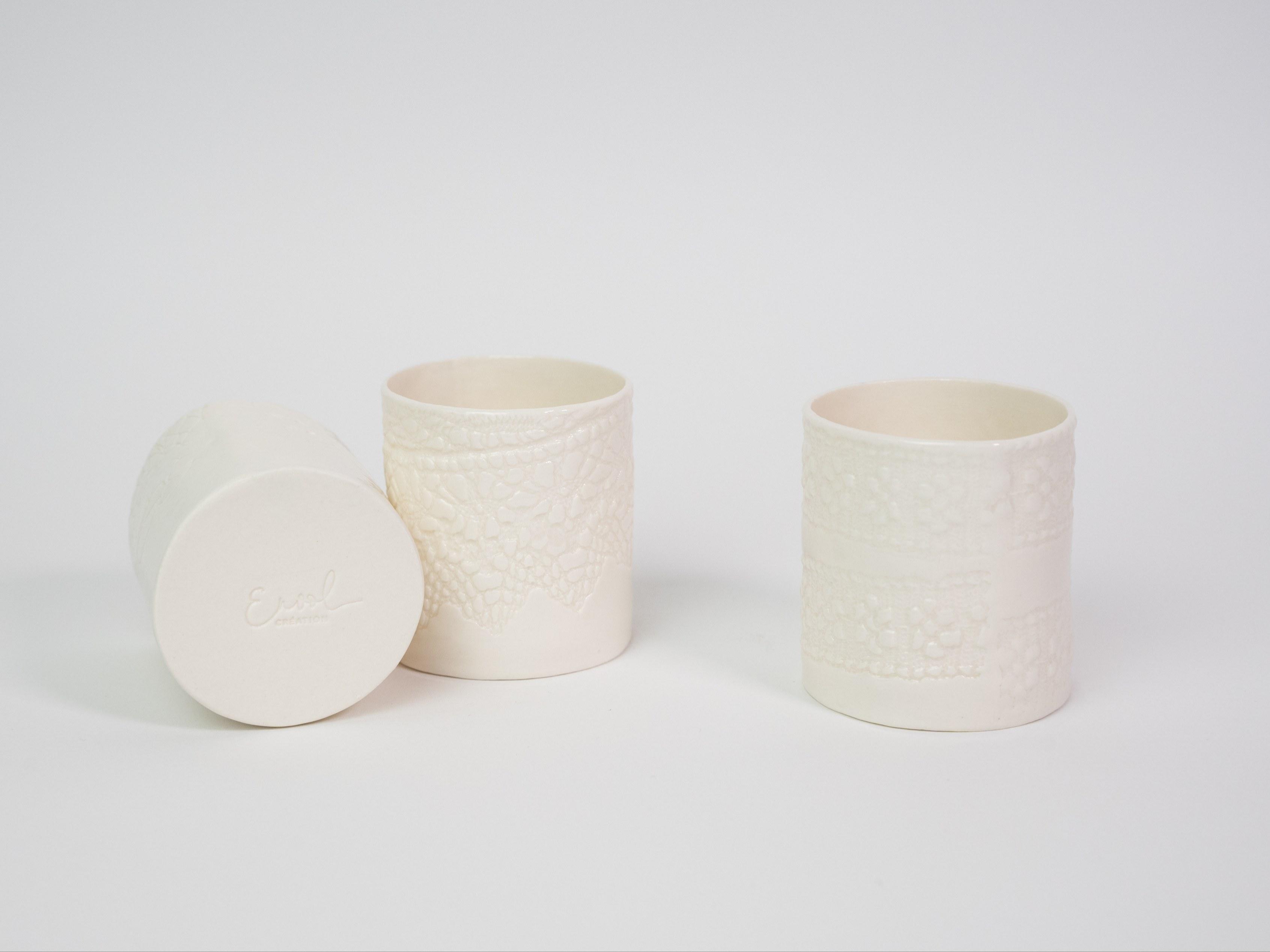 Collection dentelle - Photophore porcelaine - impression dentelle