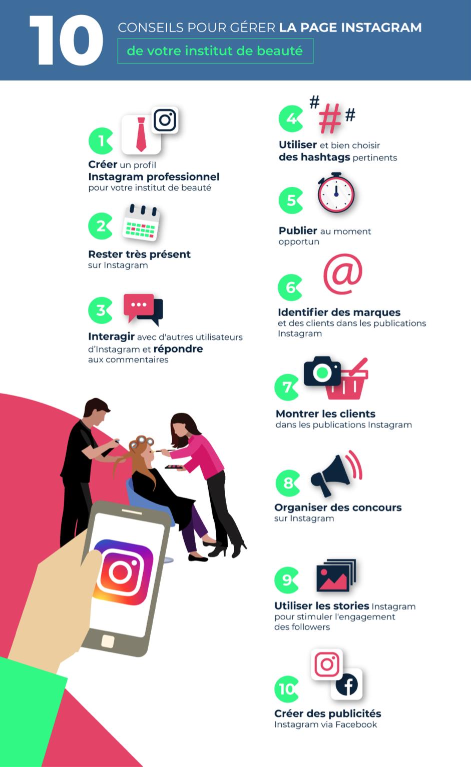 comment gérer page instagram conseils infographie