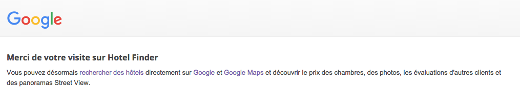 Google hotel Finder ferme