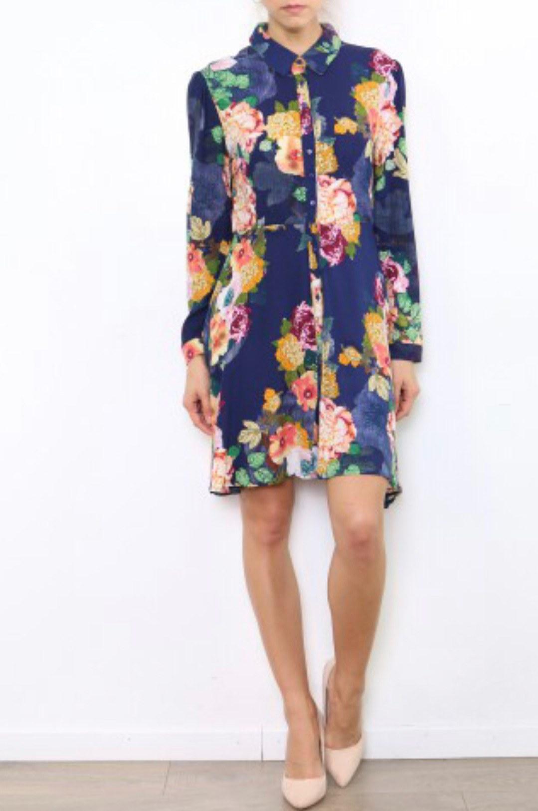 robe courte bleu