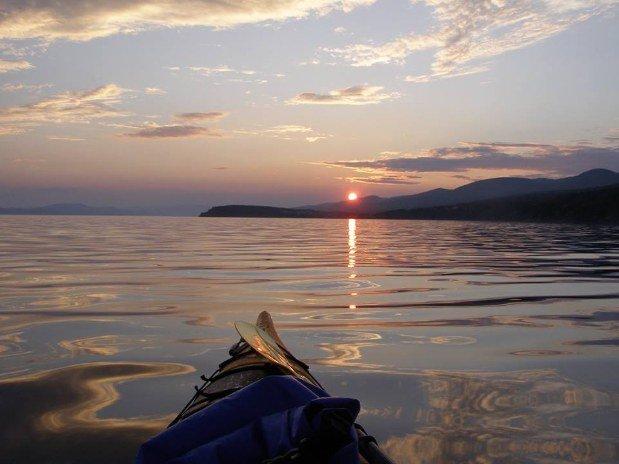 kayak coucher de soleil