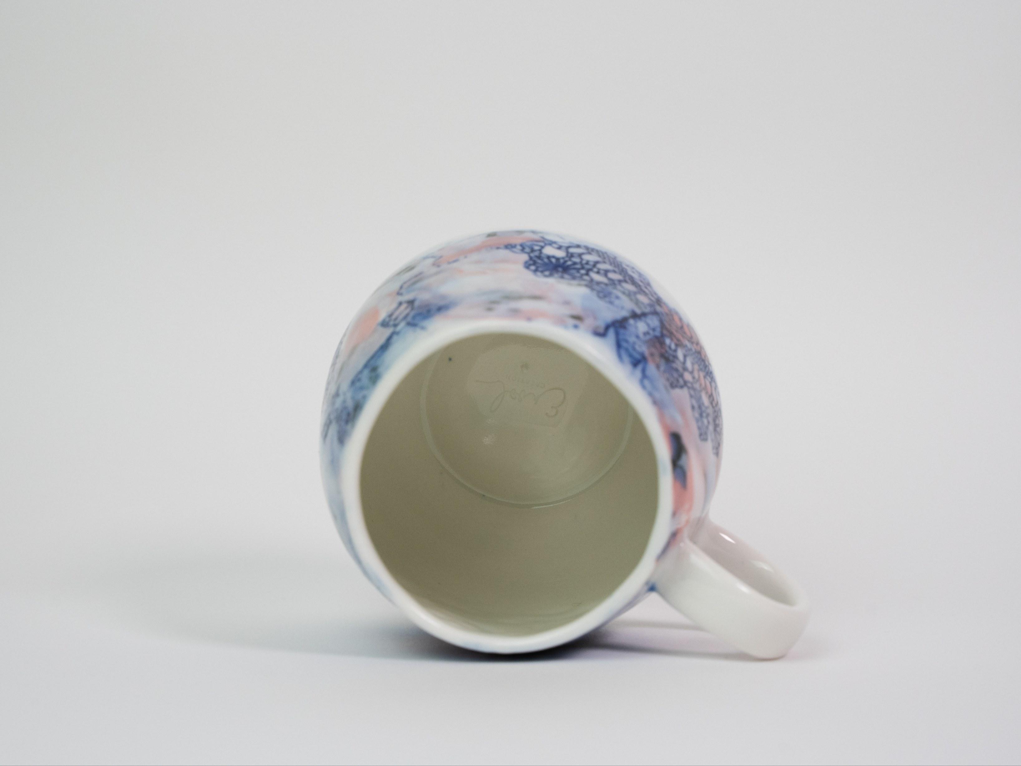 Collection Burano- Tasse anse dentelle colorée- Couleur Framboise C (2)