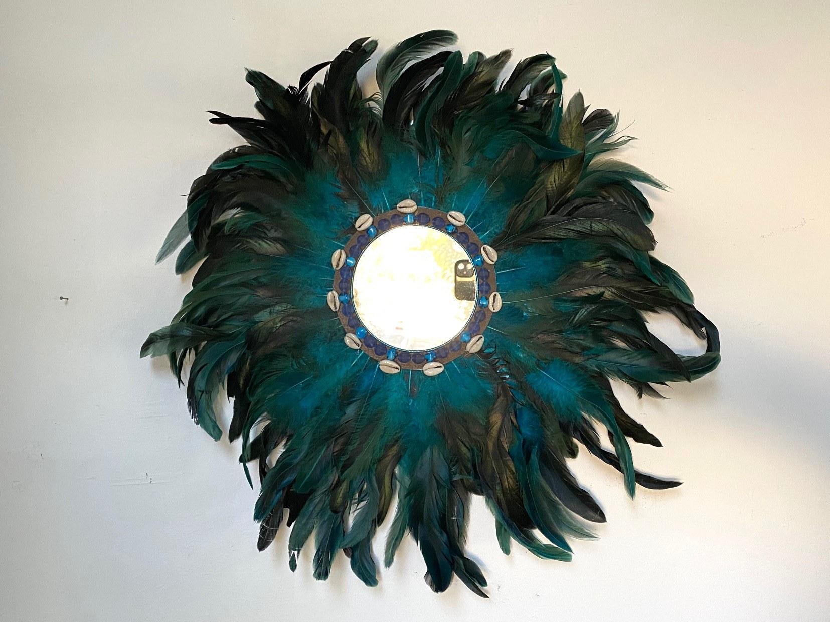 Miroir à plume bleu