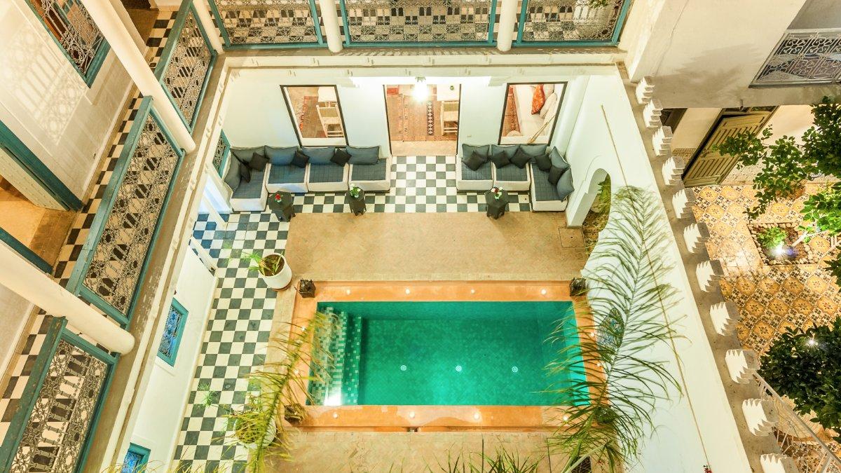 Riad CHamali Marrakech Piscine Court interne