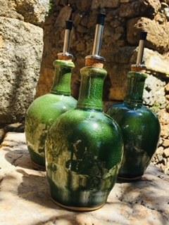 37-Bouteille huile vinaigre vert caïman