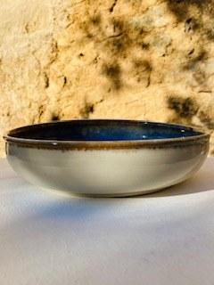 52 Assiette grès ecuelle creuse blanche bleue