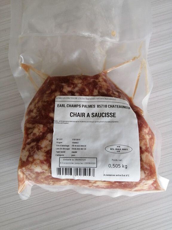 chair à saucisse_1 Au Cochon Pailleux Exploitation Agricole à Châteuneuf
