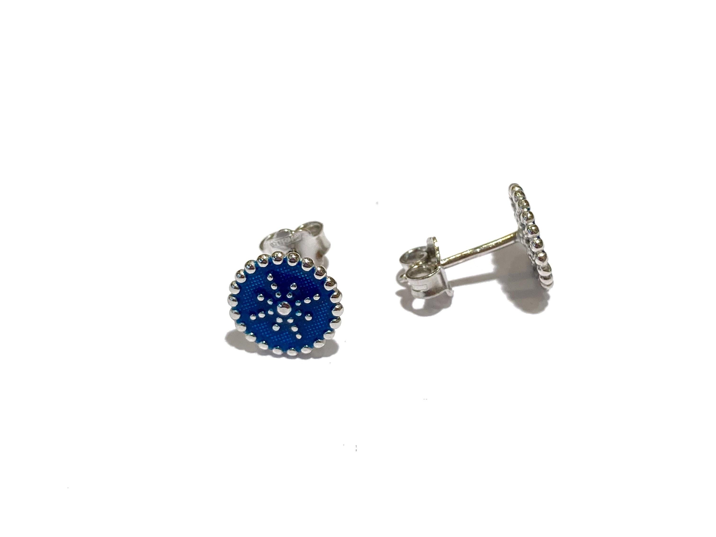 manjo-boucles d'oreilles-argent-émail-bleu-