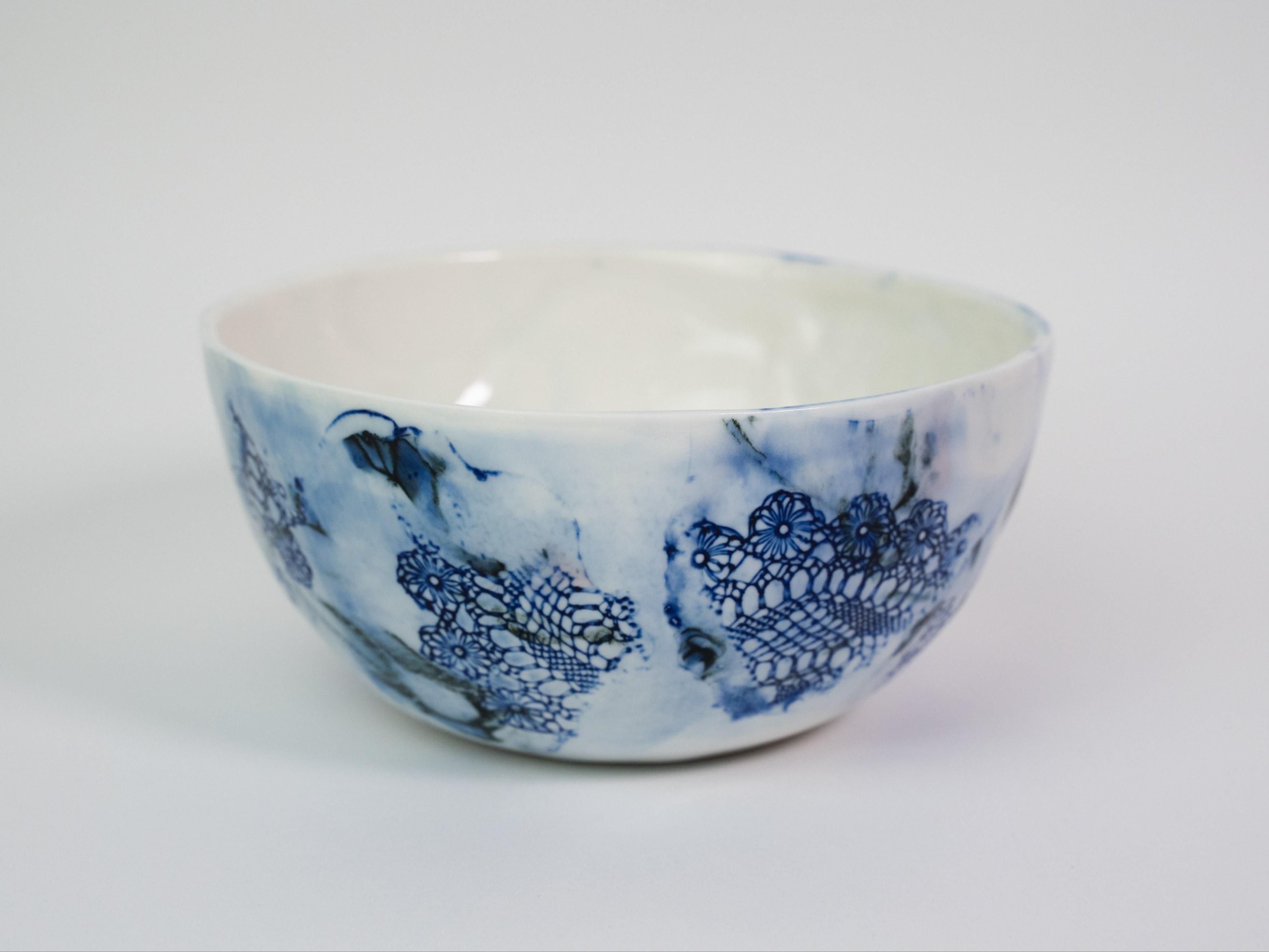 Collection Burano- Petit Saladier- dentelle colorée- Couleur Bleu