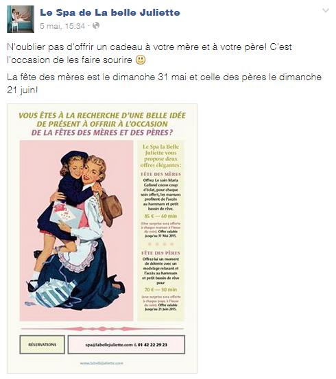 exemple post Facebook offre commerciale pour institut de beauté