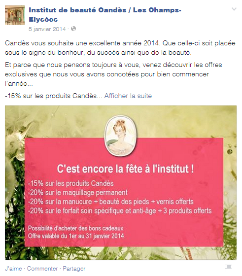 exemple post Facebook réduction institut beauté