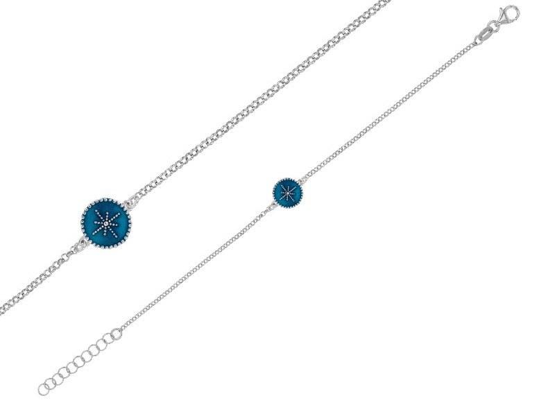 manjo-bracelet-rond-perle-email-bleu-metallise-avec-etoile-en-argent-rhodie-3-318128254B