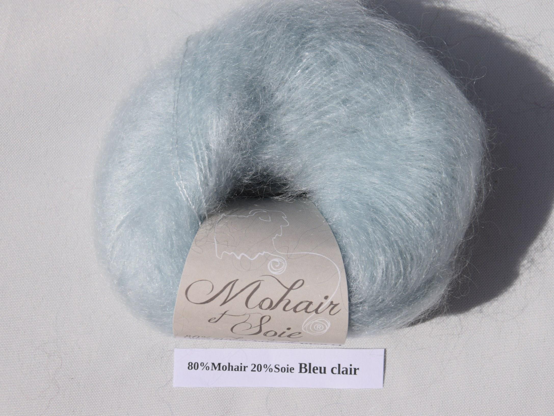 Mohair et Soie Bleu Clair du Mohair du pays de Chambord
