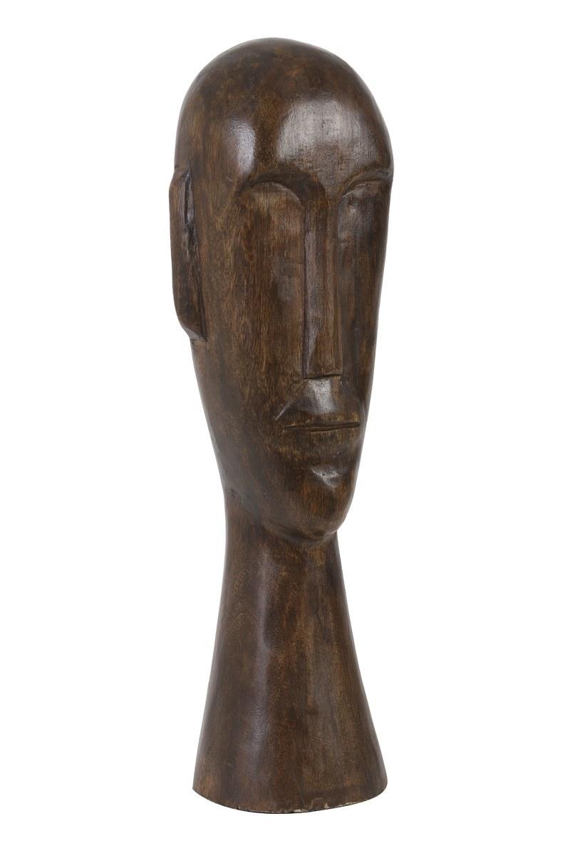statue tête bois marron GM 1