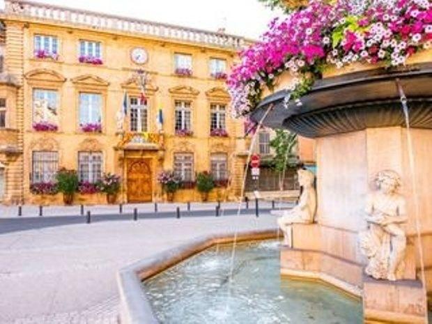 hotel-centre-ville-avec-piscine-en-salon-provence-fontaine-fleur-statue