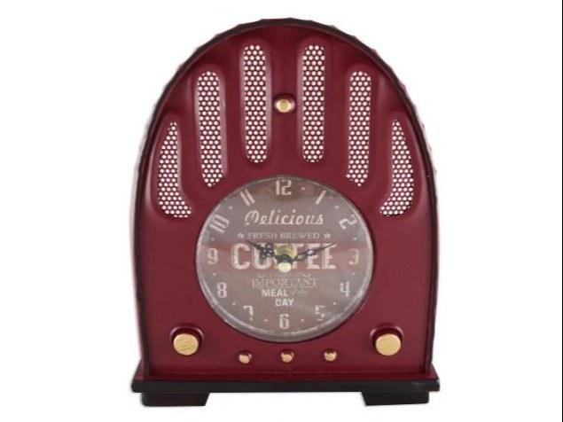 Horloge-Pendule-à-poser-transistor-vintage-rouge