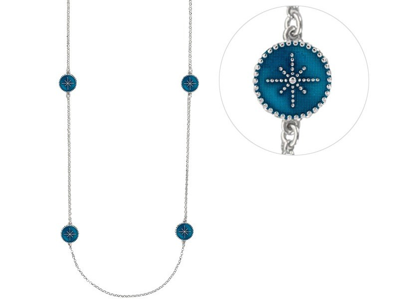 manjo sautoir-ronds-perles-email-bleu-metallise-avec-etoiles-en-argent-rhodie-3-3171082028B