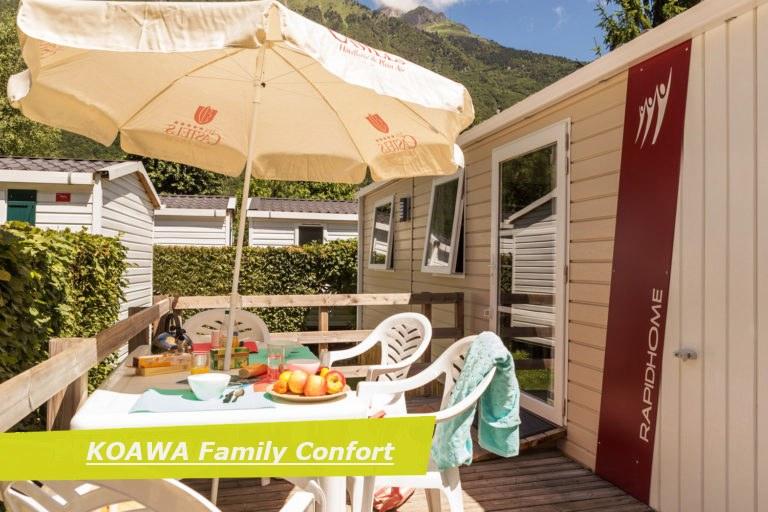 family confort PMR terrasse camping Alpes d'Huez piscine montagne Isère