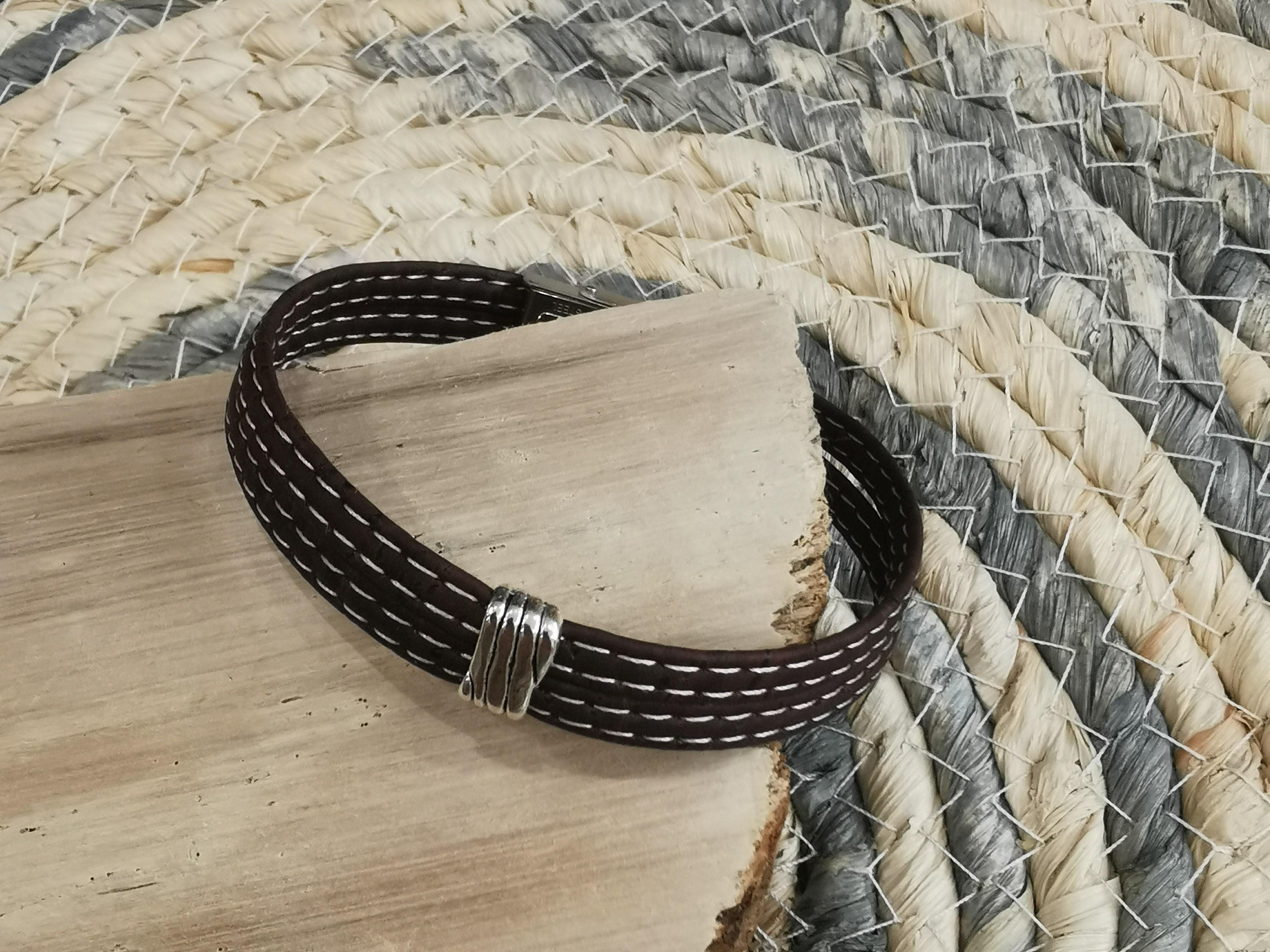 bracelet fantaisie en liège couleurs d'Hélène