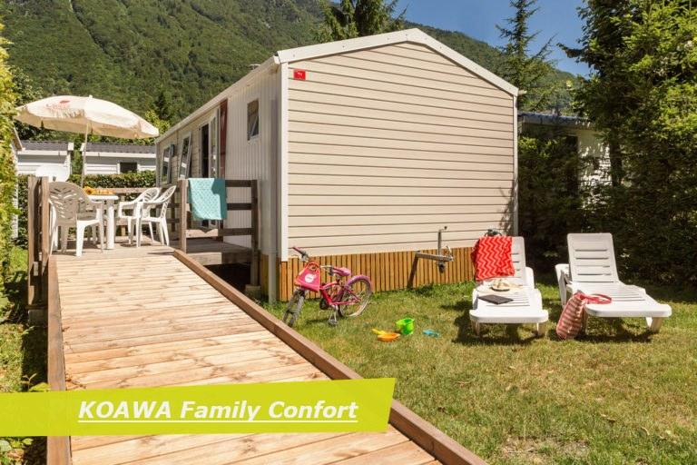family confort PMR exterieur camping Alpes d'Huez piscine montagne Isère