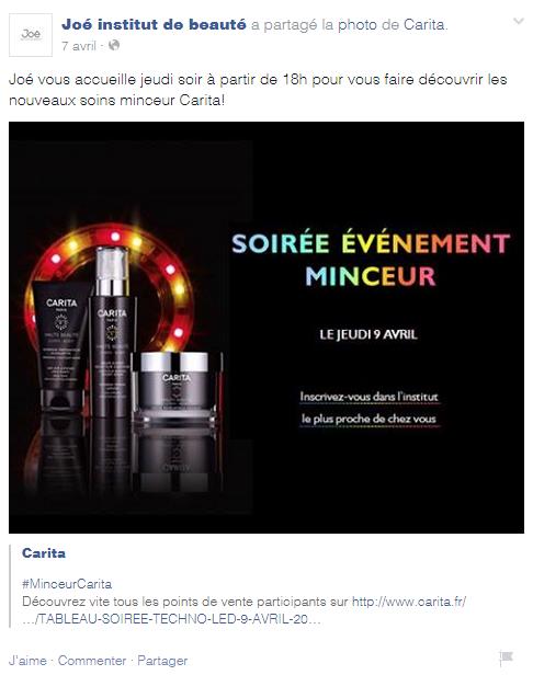 quoi poster Facebook institut de beauté évènement