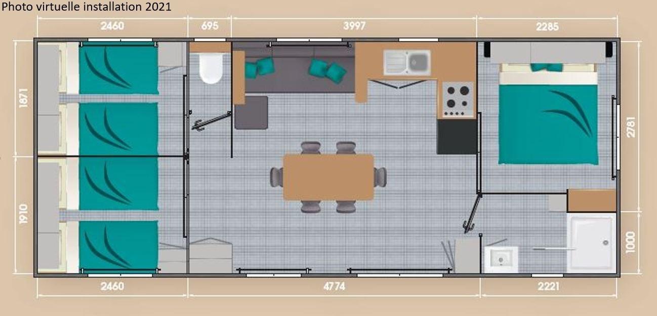 Mobil-home loft confort camping familial Isère nature parc aquatique