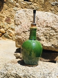 037-Bouteille huile vinaigre vert caïman