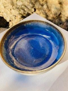 0000052  Assiette grès ecuelle creuse blanche bleue