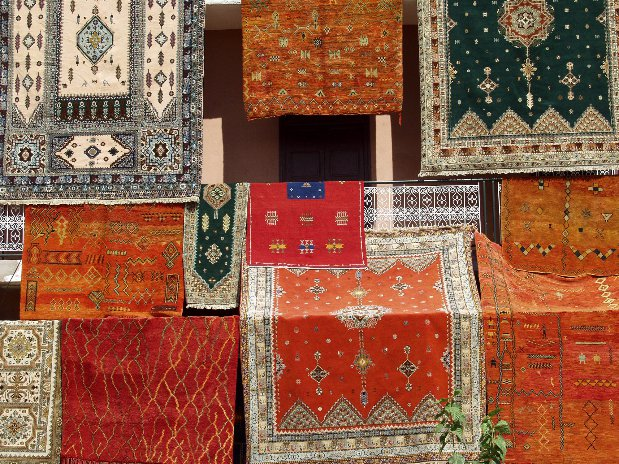 rugs in souks of marrakech - morocco - riad chamali