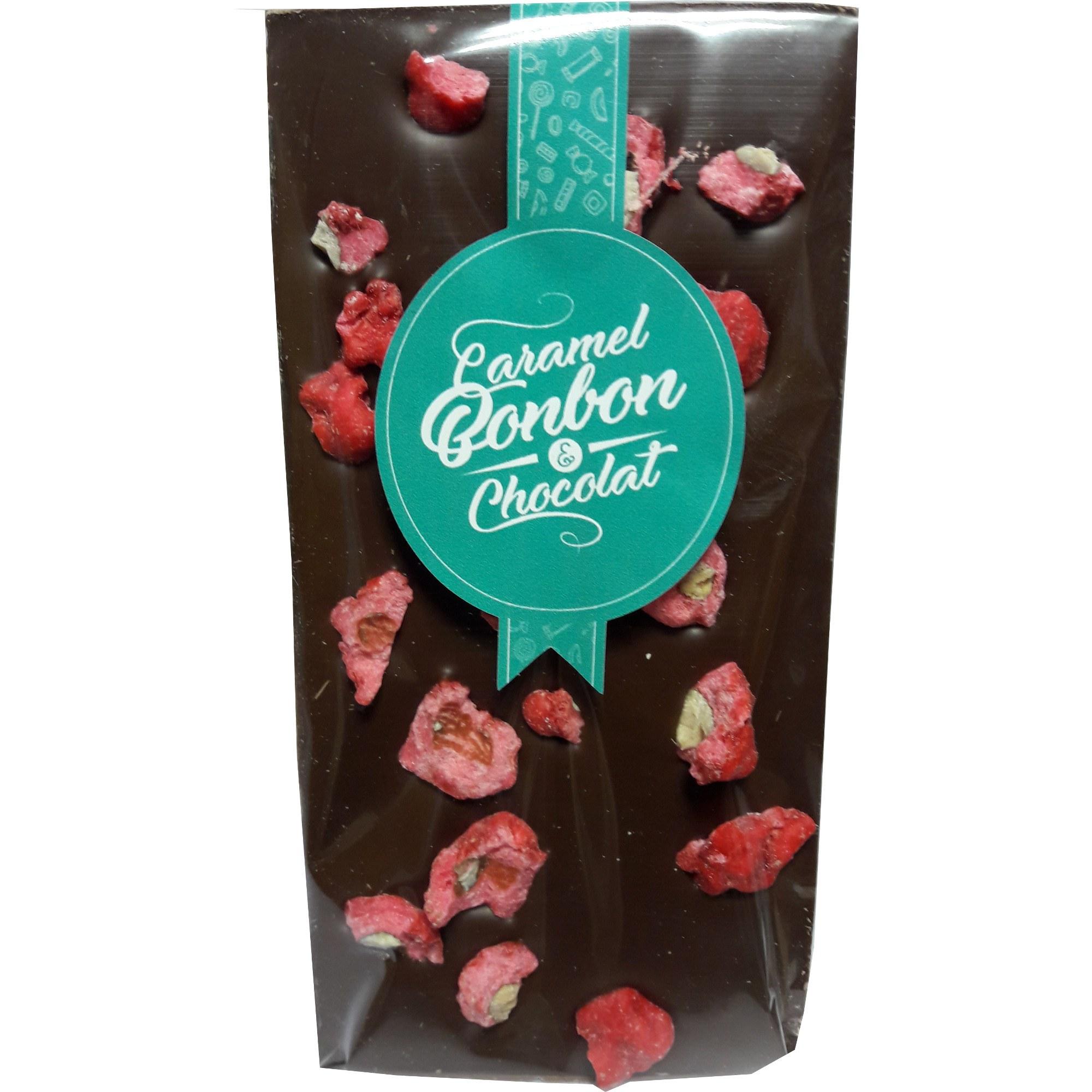 Tablette chocolat lait aux pralines roses