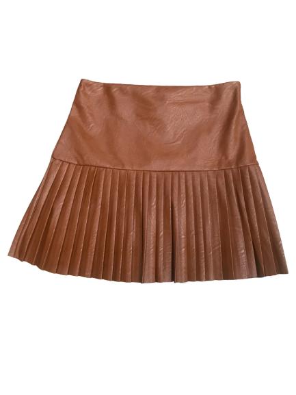 mini jupe plissée camel