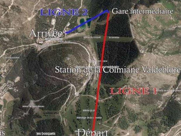 Plan de la tyrolienne de la Colmiane