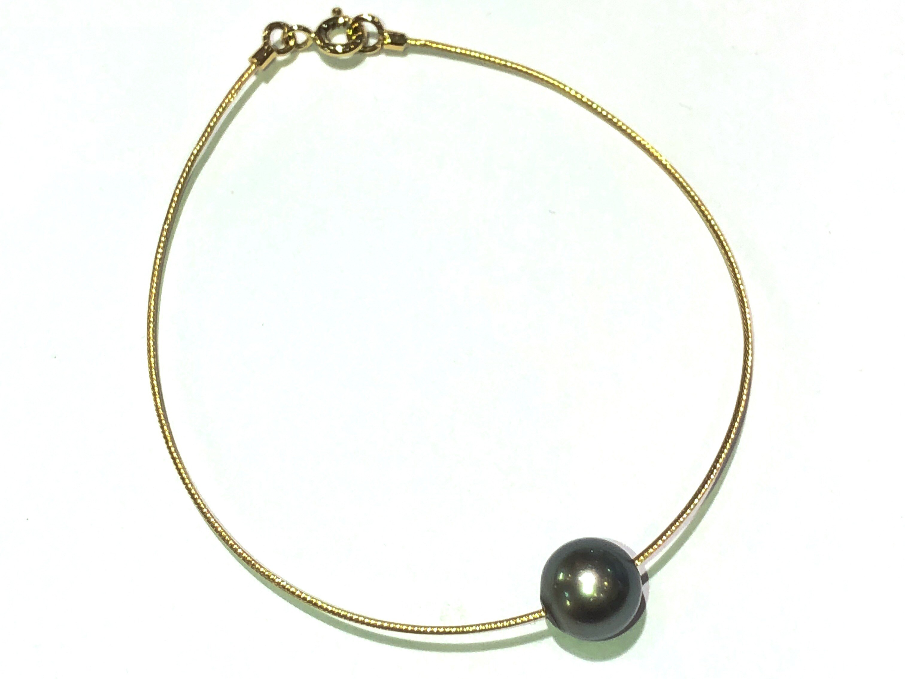 manjo bracelet or jaune 750 câble perle de Tahiti
