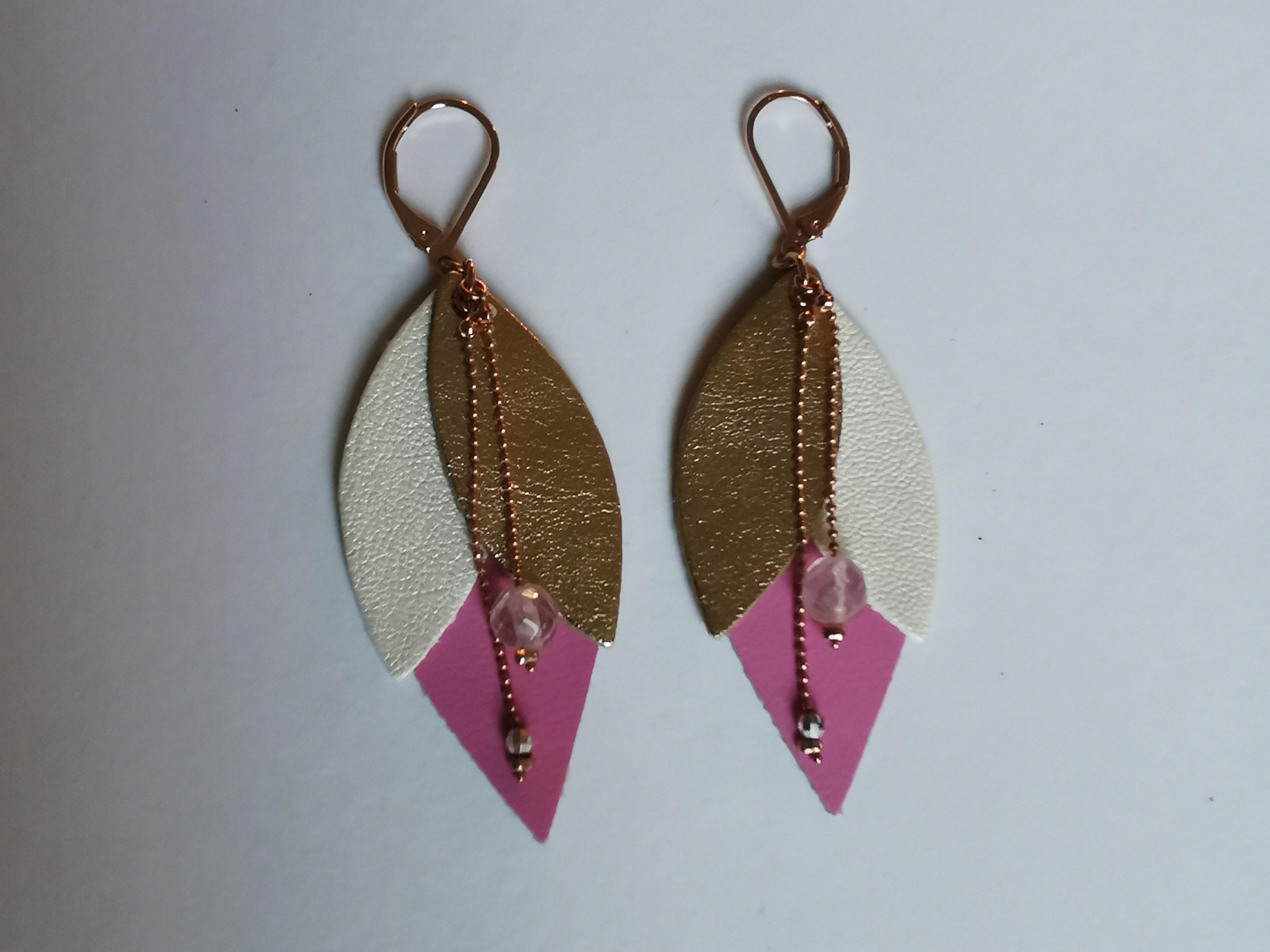 boucles-d-oreilles cuir rose couleurs d'Hélène
