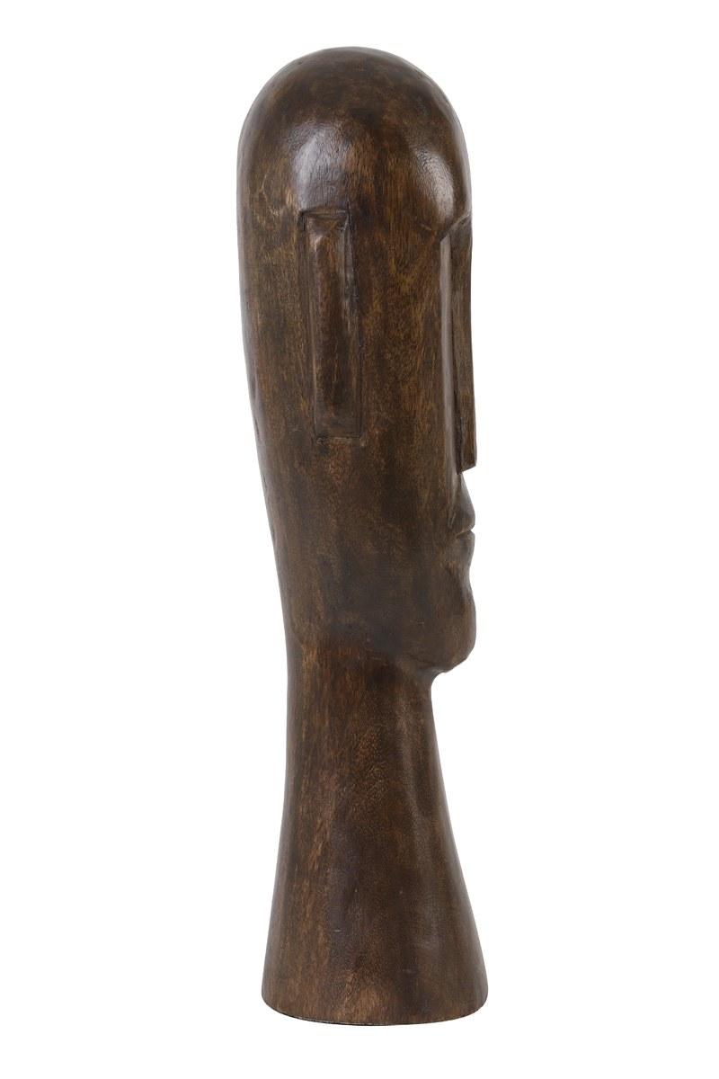 statue tête bois marron GM 2