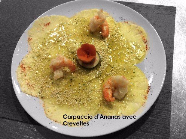 Carpaccio ananas crevettes - maison monsieur - la chaux de fonds