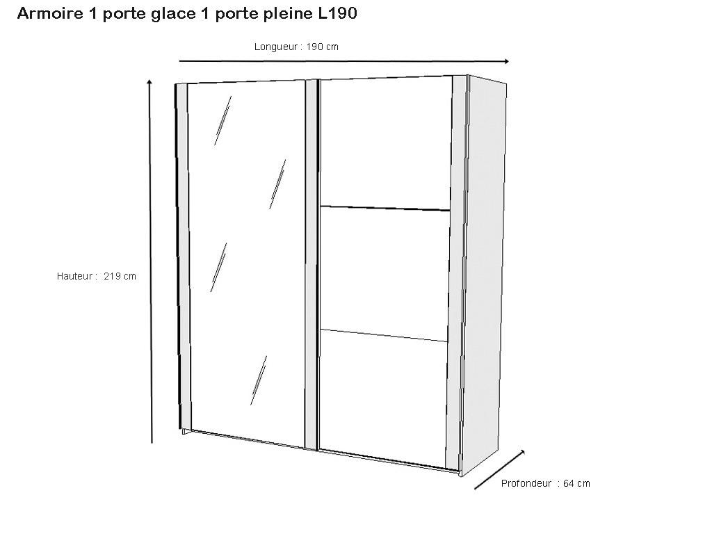 Chambre Adulte Armoire porte coulissante miroir chêne claire noir dimension
