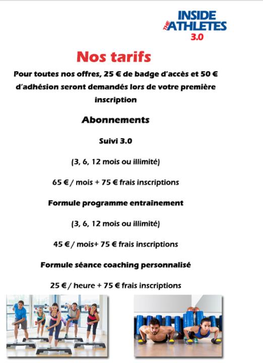Tarifs Inside the athletes 3.0