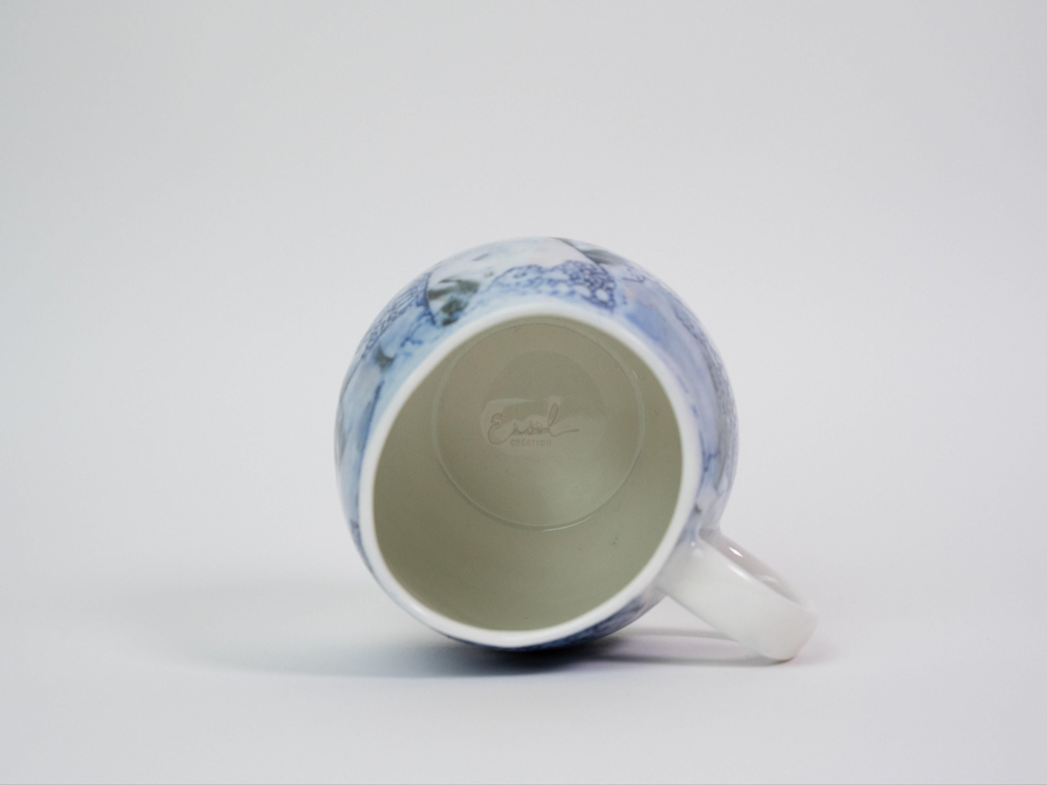 Collection Burano- Tasse anse dentelle colorée- Couleur BleuA (2)