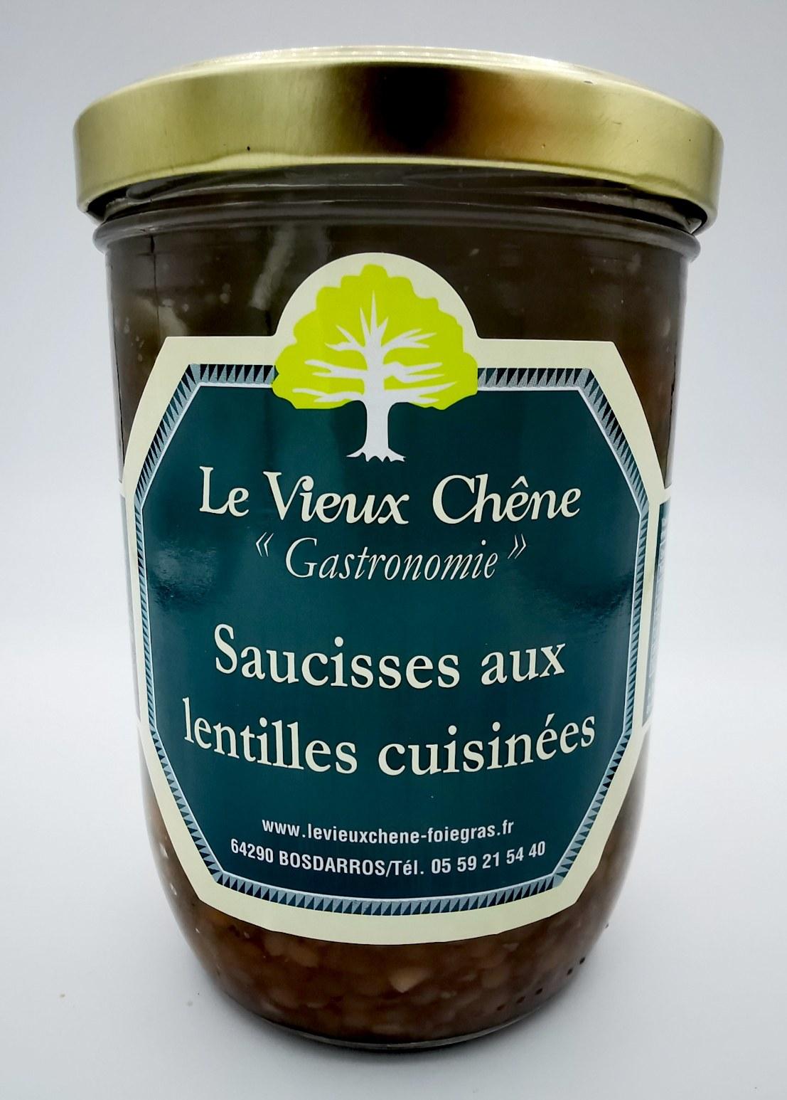 Saucisses aux Lentilles cuisinées - le vieux chêne - charcuterie - vallée d'aspe - local